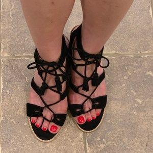 Dolce Vita Black Suede lace up Sandals Block Heel
